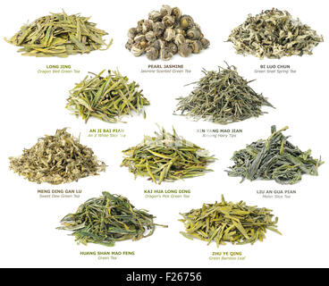 10 famous chinese green teas isolated on white - Stock Photo