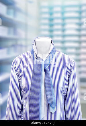 men's classic fashion (shirts and ties in store on mannequin) - Stock Photo