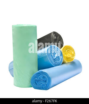 many colored degradable garbage bags - Stock Photo