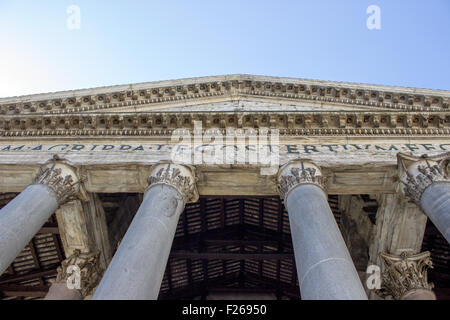Entrance to the Pantheon in Rome - Stock Photo