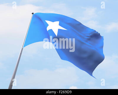 Somalia flag flying on clear sky. - Stock Photo