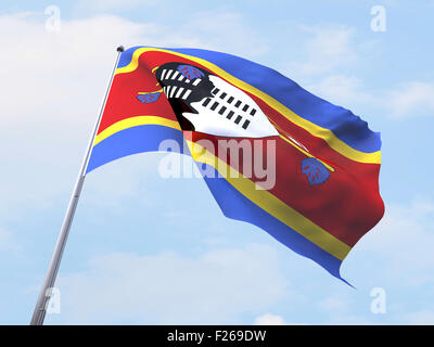 Swaziland flag flying on clear sky. - Stock Photo