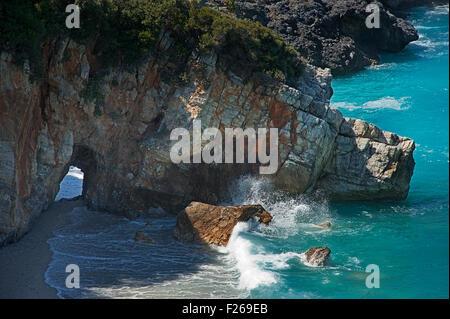 Rocky bay of Milopotamos on Pelion Peninsula, Thessaly, Greece - Stock Photo
