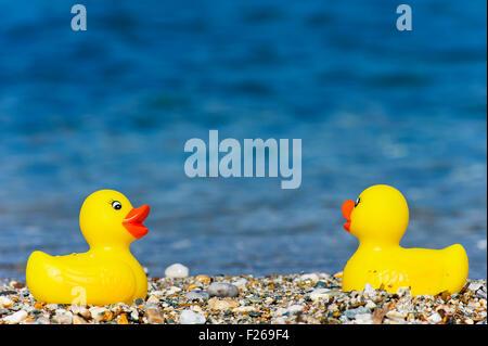 Two rubber ducks on Aegean beach - Stock Photo