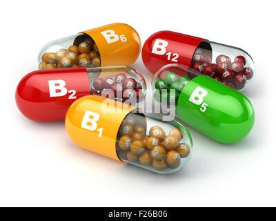 Vitamin B. Capsules B1 B2 B6 B12 on white isolated background. 3d - Stock Photo
