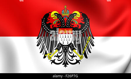 3D Flag of Cologne with Coat of Arms, Germany. Close Up. - Stock Photo