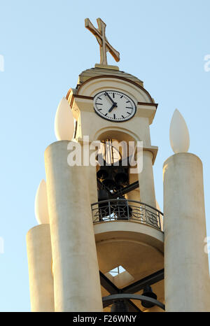 The bell and clock tower of the Resurrection of Christ Orthodox Cathedral of Tirana. Triana, Albania. - Stock Photo