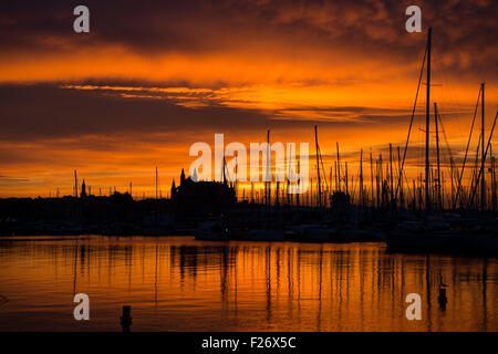 Sunrise in Palma de Mallorca, Spain - Stock Photo