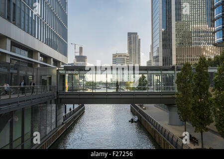 Office buildings in Canary Wharf financial district, London, England UK - Stock Photo