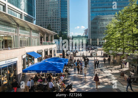 Pedestrianised area of Reuters Plaza, Canary Wharf financial district, London, England UK - Stock Photo