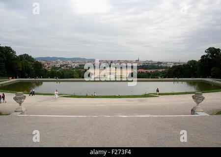 Schonbrunn Palace seen from gloriette, Vienna, Austria - Stock Photo
