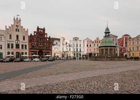Wasserkunst fountain in market square, Wismar, Mecklenburg-Vorpommern, Germany - Stock Photo