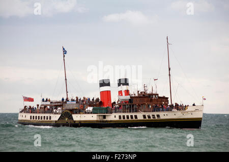 Bournemouth, Dorset, UK 13 September 2015. The Waverley Paddle Steamer at Bournemouth leaving the Pier heading for - Stock Photo