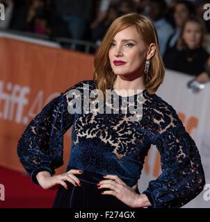 Actress Jessica Chastain attends the world premiere for The Martian at the Toronto International Film Festival at - Stock Photo