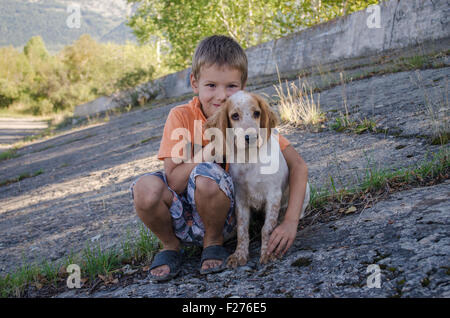 boy with a dog - Stock Photo