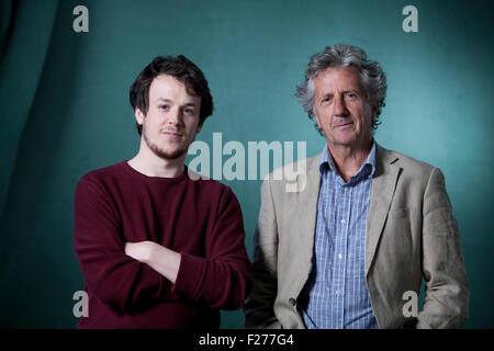 Niall Campbell, the Scottish poet (left) and Blake Morrison, fellow British poet and author, at the Edinburgh International - Stock Photo