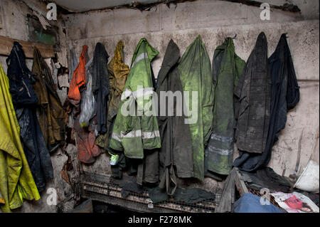 Swansea, UK. 12th Sep, 2015. The work hut at the Glesion drift mine remains untouched, following the mine disaster - Stock Photo