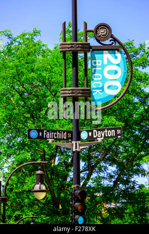 200 Block sign on State Street in Madison Wisconsin - Stock Photo