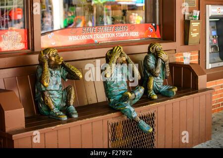 The three wise monkeys - See No Evil, Hear no Evil and Speak no Evil - Stock Photo
