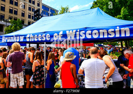 Brunkow Cheese of Wisconsin Farmers Market stall in downtown Madison Wisconsin - Stock Photo