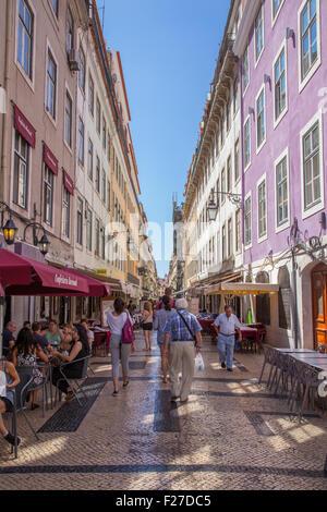 Rua Augusta shopping street, Baixa, Lisbon, Portugal - Stock Photo
