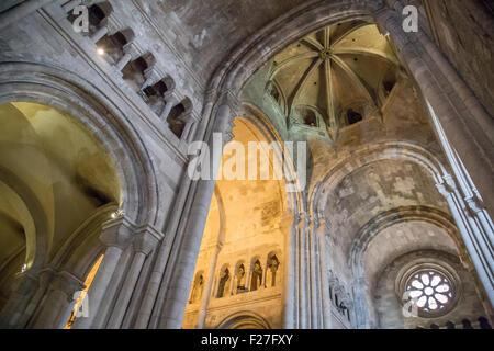 Interior of Lisbon Cathedral, Se de Lisboa, Lisbon, Portugal - Stock Photo