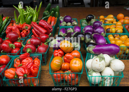Produce for sale at the Greenmarket in Manhattan's Union Square Park. - Stock Photo