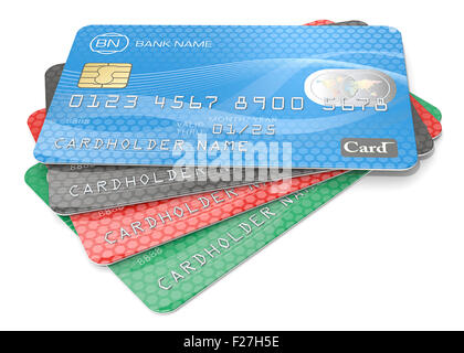 Pile of 4 Credit Cards. Blue, black red, green. Generic Names, Numbers and Logos. - Stock Photo