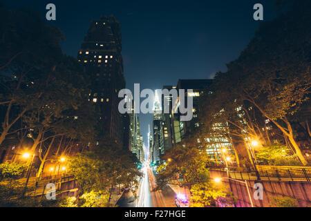 42nd Street at night, seen from Tudor City, in Midtown Manhattan, New York. - Stock Photo