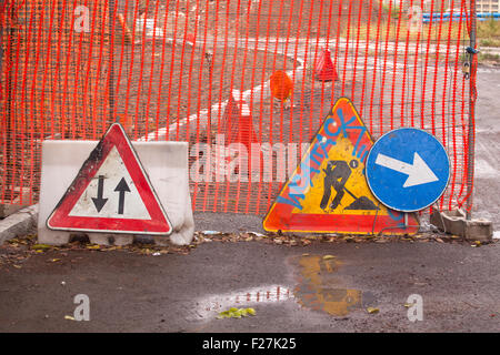Various road signal, work in progress - Stock Photo