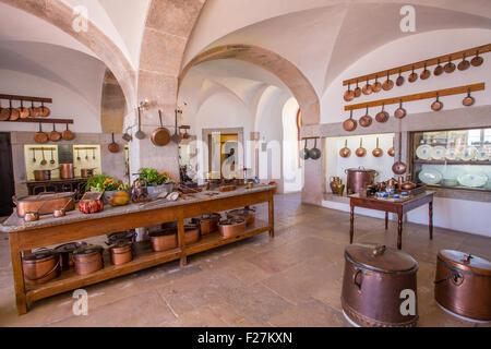 Kitchens inside Palacio Nacional de Pena, National Palace of Pena, Sintra, Portugal - Stock Photo
