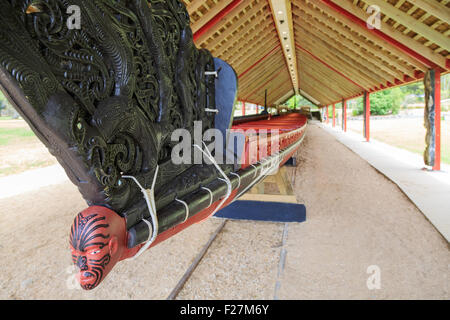 Front of a traditional war canoe of the Maori people in Waitangi, New Zealand - Stock Photo