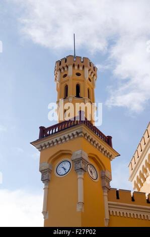 Wroclaw Glowny Railway Train Station facade, clock tower, Silesia, Poland, Europe, EU, PL - Stock Photo