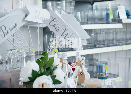 Showpieces and vases in garden centre for sale, Augsburg, Bavaria, Germany - Stock Photo
