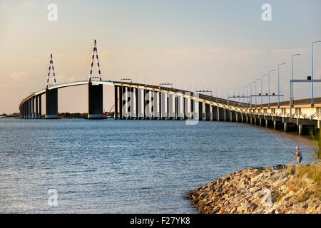 The cable-stayed Saint Nazaire Bridge, Le Pont Saint-Nazaire, spans the River Loire estuary. Brittany, France. Looking - Stock Photo