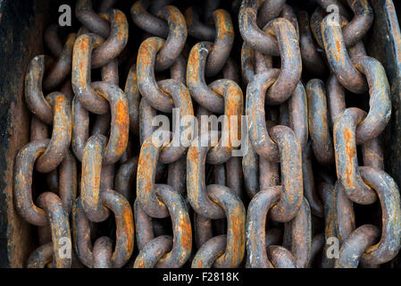 Anchor chain on the deck of a ship. - Stock Photo
