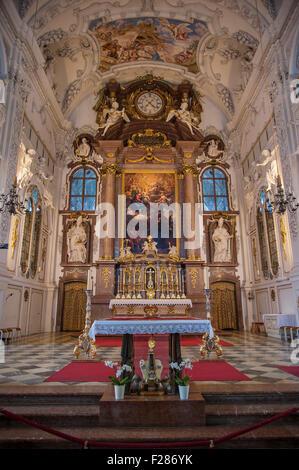 Main altar, Benediktbeuern, Bavaria, Germany - Stock Photo