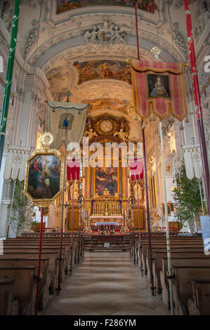 Benediktbeuern Abbey at Corpus Christi, Bavaria, Germany - Stock Photo
