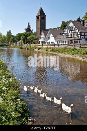 River Lenne in the district Saalhausen, Lennestadt, Sauerland, North Rhine-Westphalia, Germany - Stock Photo