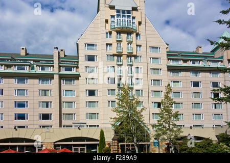 Exterior of the Fairmont Chateau Whistler located in the Upper Village in Whistler, British Columbia, Canada.  Luxurious - Stock Photo