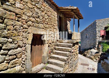 Portugal: Restored stone house in the historic village Monsanto - Stock Photo