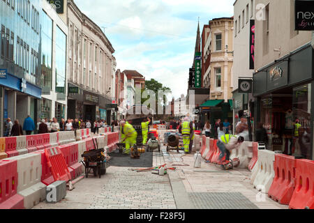 Fishergate, Preston City Centre, Lancashire, UK _ Shoppers, Shops, Shopping in the Main Street and thoroughfare. - Stock Photo