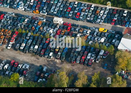 France, Bas Rhin (67), Vendenheim, cars recycling site (aerial view)  // Bas Rhin (67), Vendenheim, casse automobile - Stock Photo