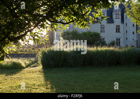 Chateau du Rivau from the orchard, early morning light - Stock Photo