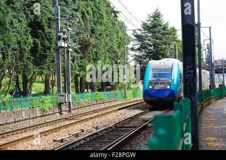 trams and tramlines in nantes france - Stock Photo