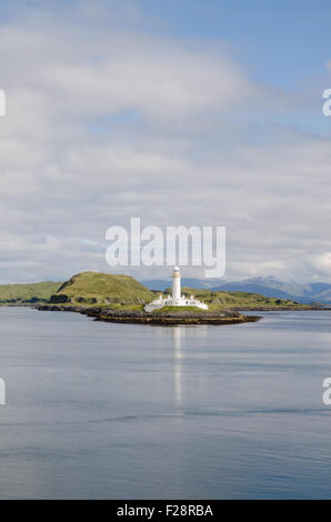 Lismore lighthouse, Eilean Musdile, view from the ferry, Inner Hebrides, Scotland, U.K. - Stock Photo