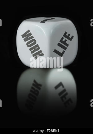 White dice with work life choices - Stock Photo