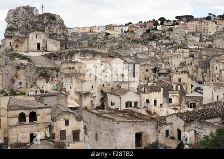 Panorama of Sasso Caveoso, Matera, Basilicata, Italy. - Stock Photo