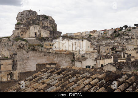 Rupestrian church and panorama of Sasso Caveoso, Matera, Basilicata, Italy. - Stock Photo