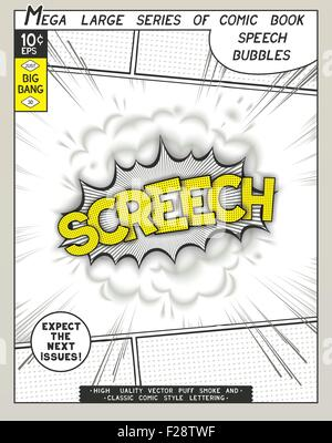 Screech. Explosion in comic style with lettering and realistic puffs smoke. 3D vector pop art speech bubble - Stock Photo